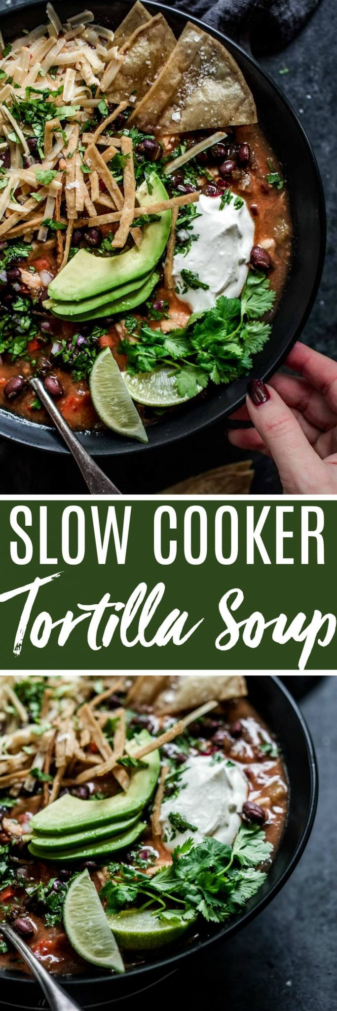 Slow Cooker Chicken Tortilla Soup can be made easy with your crockpot. Just add all the ingredients to your slow cooker and go! Serve it up with crispy tortilla chips, avocado, sour cream & cheddar cheese.