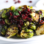 Brussels Sprouts with Balsamic and Cranberries platingsandpairings.com