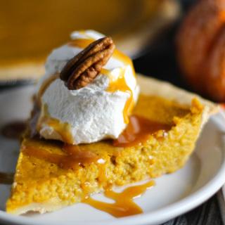 Pumpkin Pie with Salted Caramel Sauce