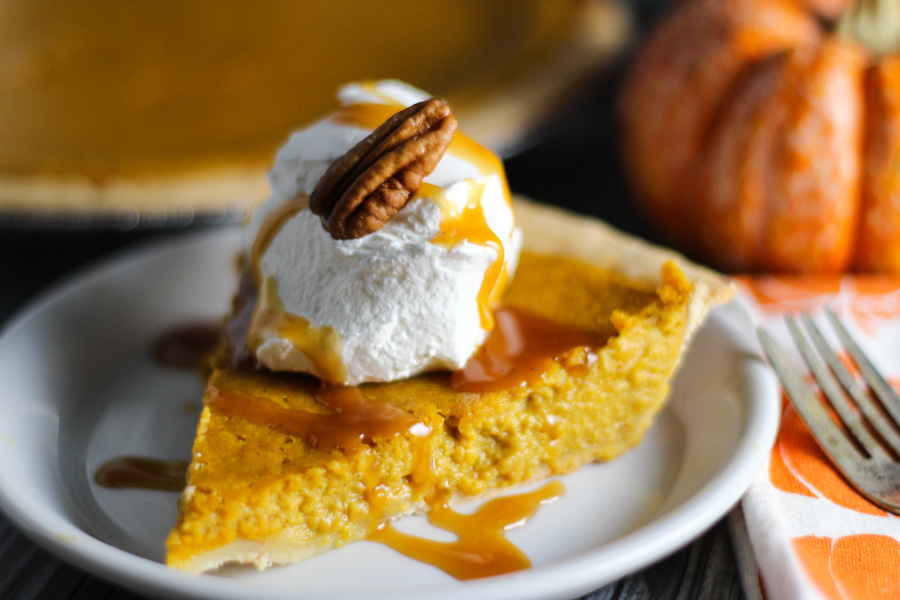 Pumpkin Pie with Salted Caramel Sauce platingsandpairings.com