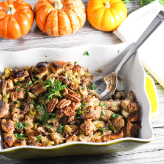 Thanksgiving Pecan Mushroom Stuffing platingsandpairings.com