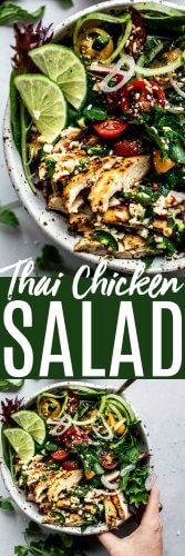 This Thai Chicken Salad comes together in just 20 minutes! Tossed with a tangy lime-lemongrass dressing and served alongside colorful vegetables. It's a delicious and easy lunch or dinner. #thaifood #thaisalad
