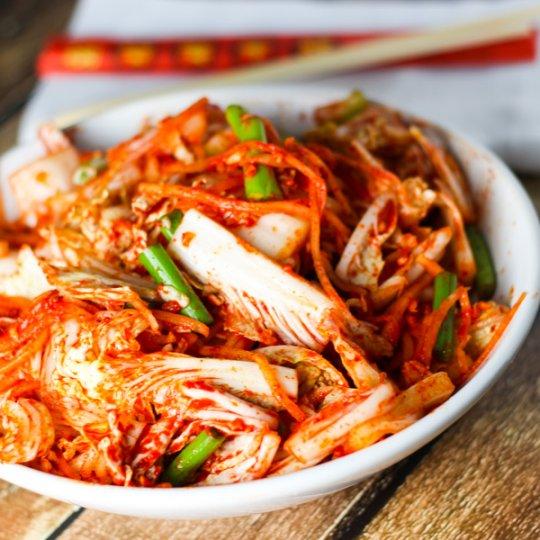 Bowl of prepared kimchi