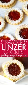 These Linzer Cookies with Strawberry Jam are a delightful, sweet treat that's perfect for holidays like Christmas and Valentine's Day! | platingsandpairings.com