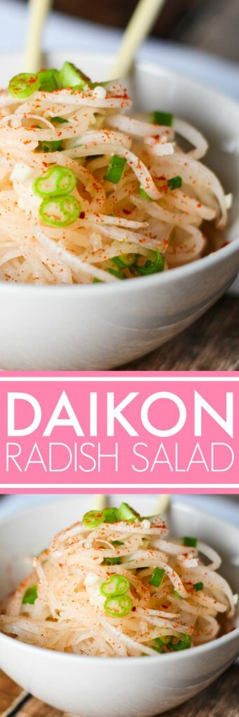 This Daikon Radish Salad is dressed simply in a garlic vinaigrette and sprinkled with Korean red pepper powder for a bit of heat. | platingsandpairings.com