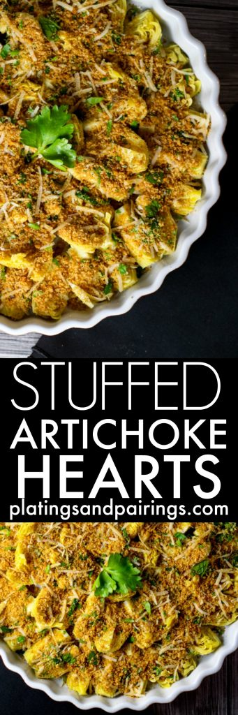"These Stuffed Artichoke Hearts take all the work out of actually stuffing an artichoke. Canned artichoke hearts are arranged in a dish and topped with a ""stuffing"" of breadcrumbs, parmesan cheese, and garlic. 