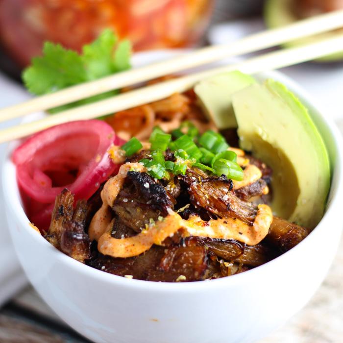 Pork Kimchi Bowls platingsandpairings.com