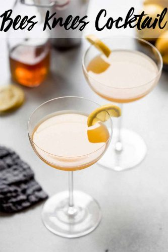 Gin, lemon juice, orange juice & honey simple syrup combine in this delicious Bees Knees cocktail. Served straight up in a martini glass. #cocktailrecipe #cocktail #citruscocktail #martini #beesknees #beeskneescocktail