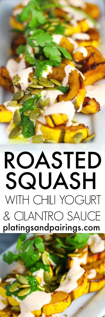 This Roasted Squash with Chili Yogurt and Cilantro Sauce is anything but basic. Roasted delicata squash is topped with a chimichurri style sauce, sriracha cream and pumpkin seeds | platingsandpairings.com