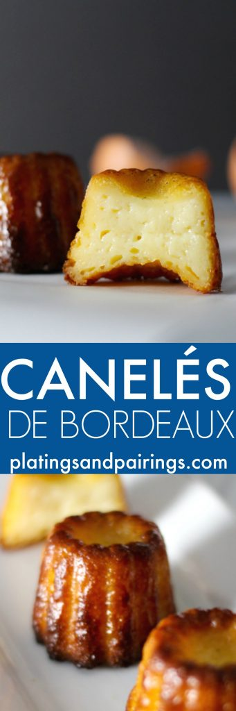 These Canelés or (Cannelés) de Bordeaux are a delicious little treat similar to a portable crème brulee. This version bakes them in silicone molds rather than the traditional copper variety. | platingsandpairings.com