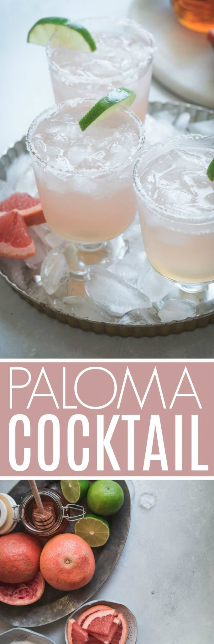 This Paloma Cocktail with Honey Simple Syrup is a refreshing, citrus cocktail made with tequilla and a splash of soda water. Serve it on the rocks with a salted rim and enjoy! #cocktail #tequila #paloma #palomacocktail #pinkcocktail #mexicancocktail
