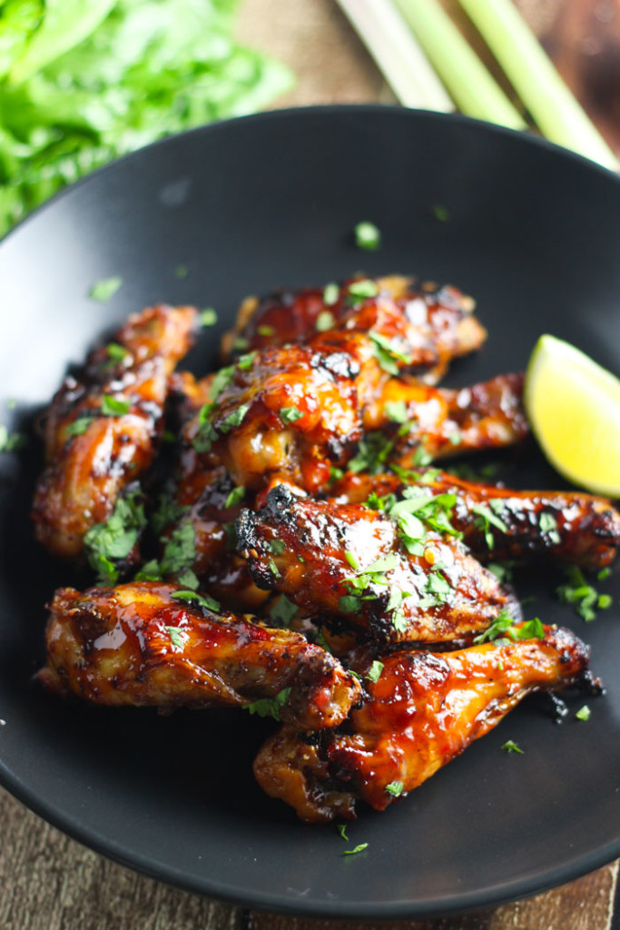 These Vietnamese Chicken Wings are baked in the oven until crisp & coated in a sweet-spicy combination of sweet soy sauce and sambal oelek chili paste. | platingsandpairings.com