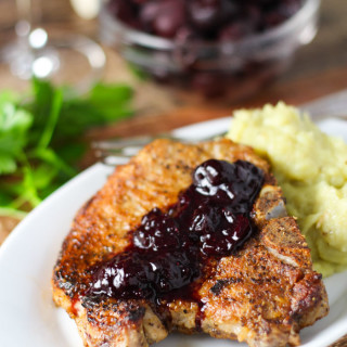Pork Chops with Cherry Sauce #WinePW