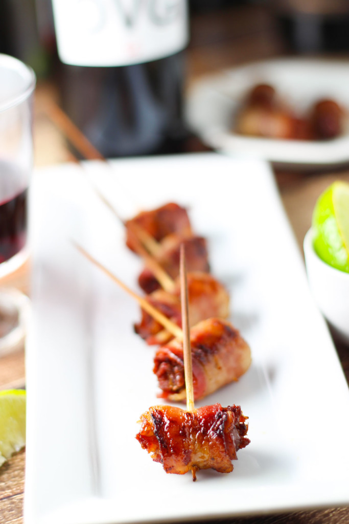 Bacon Wrapped Dates with Marcona Almonds - A Perfect Party Appetizer | platingsandpairings.com
