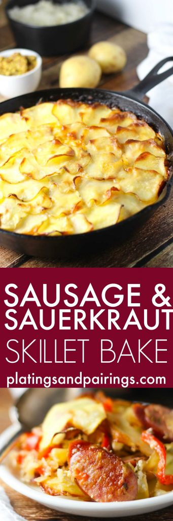This Sausage and Sauerkraut Skillet Bake, inspired by Oktoberfest, combines two favorites of polska kielbasa sausage and sauerkraut. It's topped with emmentaler cheese and thin potato slices and baked until bubbly. | platingsandpairings.com