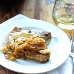 Pork Chops with Dijon-White Wine Sauce - A quick 30 minute dinner By Jessica Wood | platingsandpairings.com