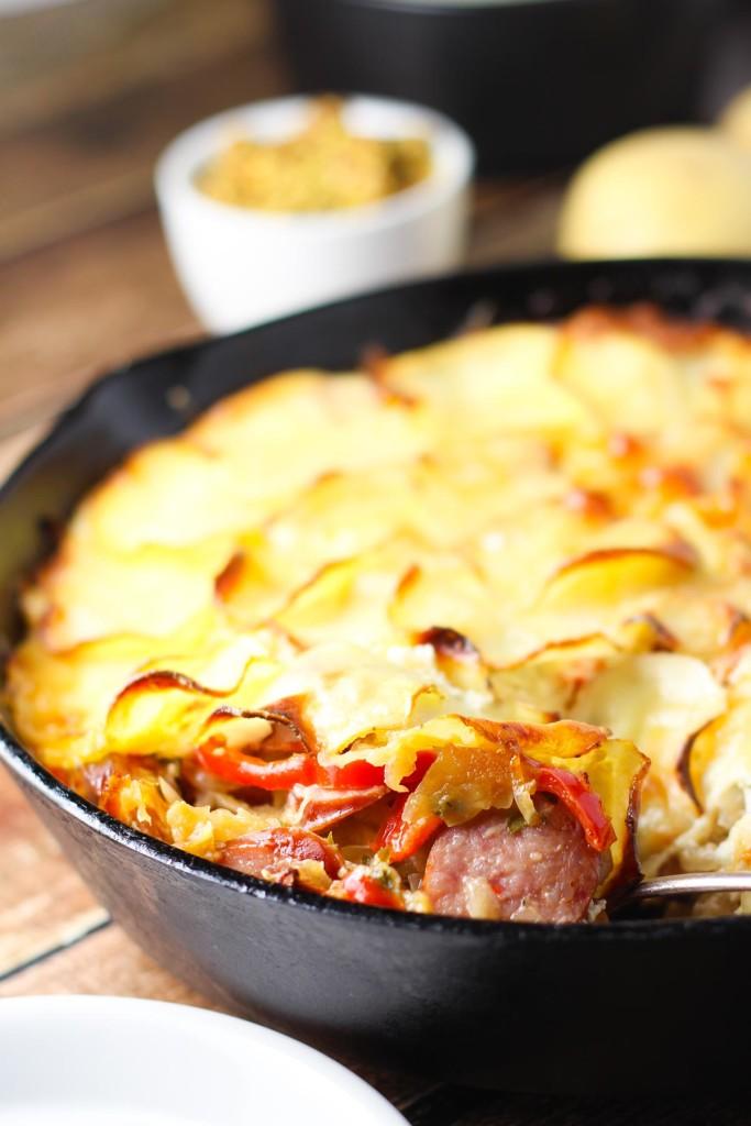 Sausage Sauerkraut Oktoberfest Skillet Bake | platingsandpairings.com