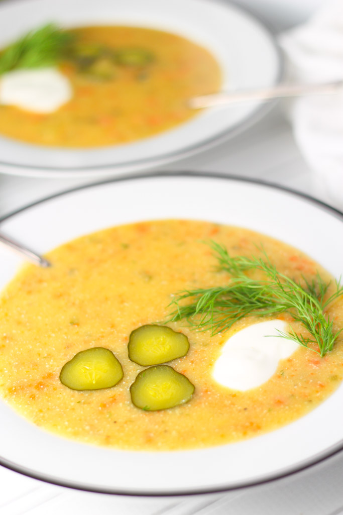 Dill Pickle Soup - Deliciously tangy and creamy   platingsandpairings.com