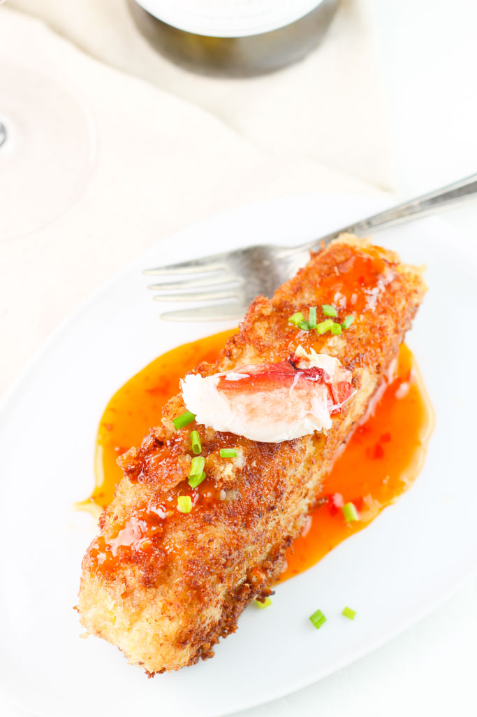 Crab Encrusted Halibut with Chili Cream Sauce | platingsandpairings.com