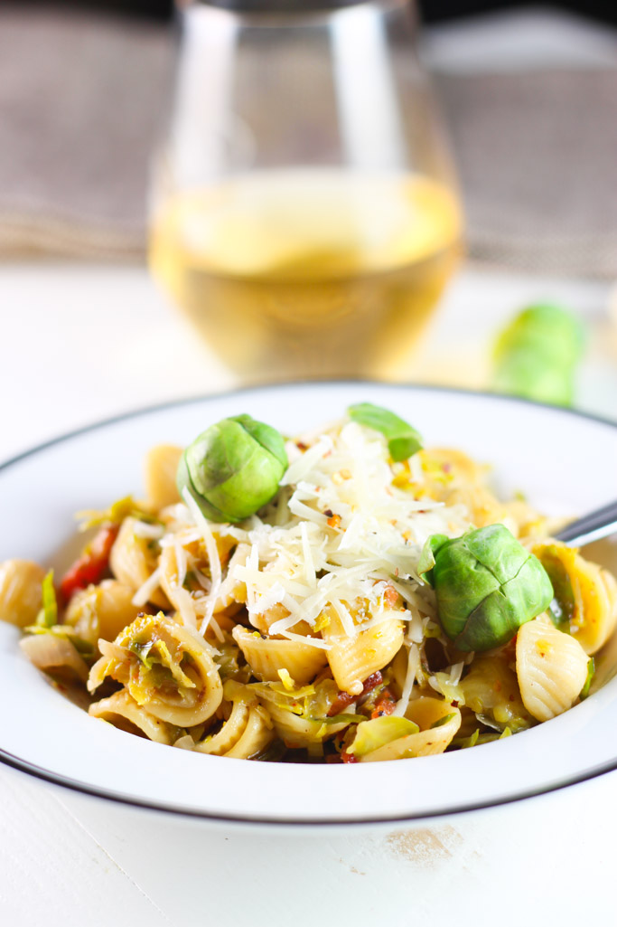 Orecchiette with Brussels Sprouts and Bacon | platingsandpairings.com