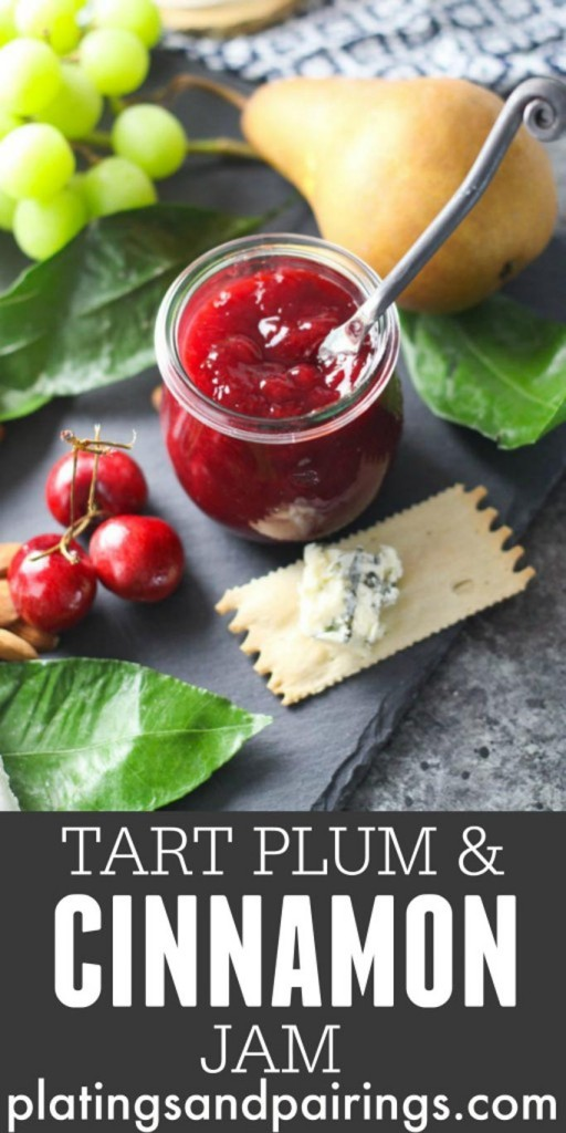 Tart Plum & Cinnamon Jam - This small-batch tart jam combines plums and cinnamon for a delicious spreadable treat. Perfect for serving alongside a beautiful cheese platter, or simply spreading on toast. Cooks in just 30 minutes | platingsandpairings.com
