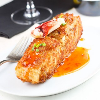 Crab Encrusted Halibut with Chili Cream Sauce