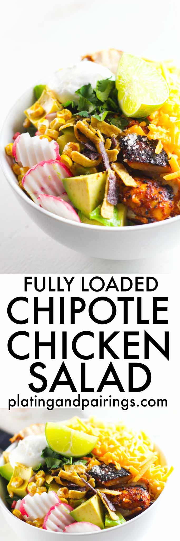 This Chipotle Chicken Salad features five superfoods and is fully loaded with spicy chicken, ditalini pasta, cheese, avocado, lime, cilantro, sour cream, and a zesty chipotle dressing | platingsandpairings.com