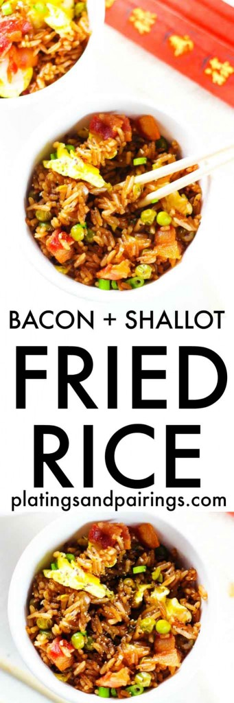 This Bacon & Shallot Fried Rice comes together easily with ingredients you probably already have on hand, and in only 15 minutes! Skip the takeout and make your own (tastier) version at home | platingsandpairings.com
