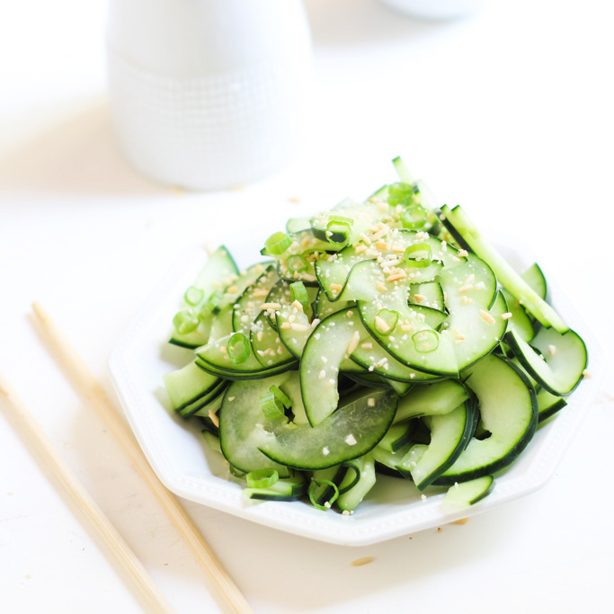 Cucumber Salad with Toasted Rice Powder - This Asian-inspired salad is tangy, crunchy and refreshing, not to mention, EASY to make!| platingsandpairings.com