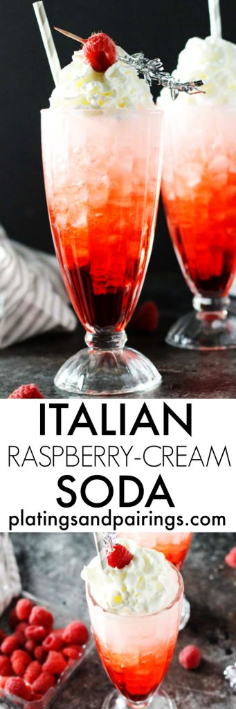 These Raspberry Cream Italian Sodas are DELICIOUS and easy to make with just three simple ingredients | platingsandpairings.com