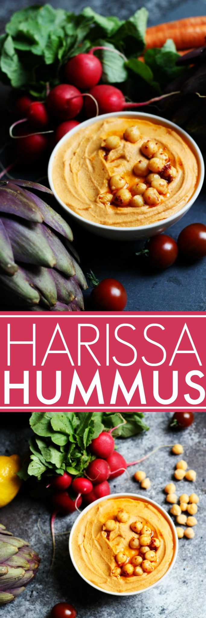 This Harissa Hummus will have you hooked with its spicy, smoky, and wonderfully aromatic flavor. | platingsandpairings.com