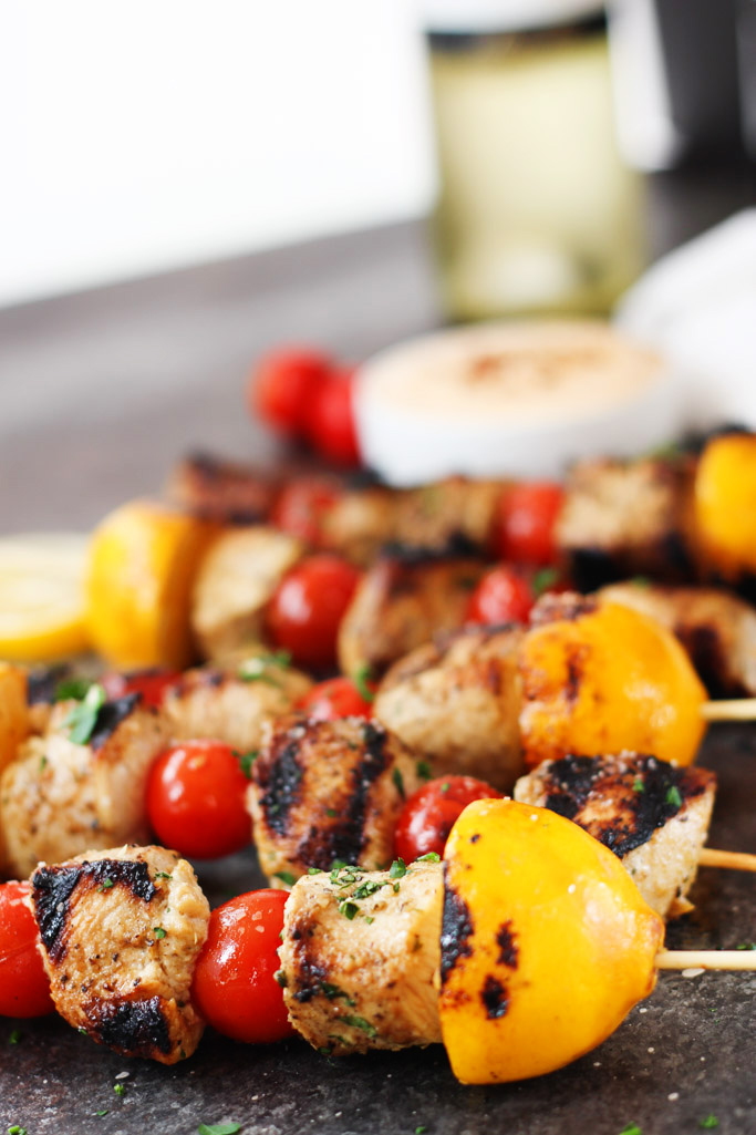Lemon Chicken Skewers with Harissa Yogurt Sauce | Platings ...