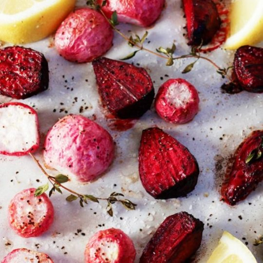 Try theses Roasted Roots - Beets and radishes are roasted simply and given a hint of flavor with fresh thyme and lemon juice | platingsandpairings.com