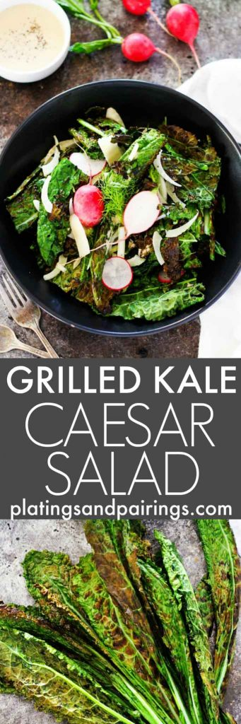 This Grilled Kale Caesar Salad with Fennel and Radishes puts an unexpected twist on the traditional Caesar salad and will be a hit at your next barbecue! | platingsandpairings.com
