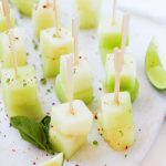 These Melon Skewers with Aleppo Pepper and Lime Zest make a perfect party appetizer that's elegant, refreshing and easy to prepare. | platingsandpairings.com