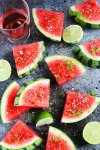 Sprinkle watermelon with Aleppo chili pepper, lime zest, and salt for an icy-cold sweet and spicy treat that's perfect for summer   platingsandpairings.com