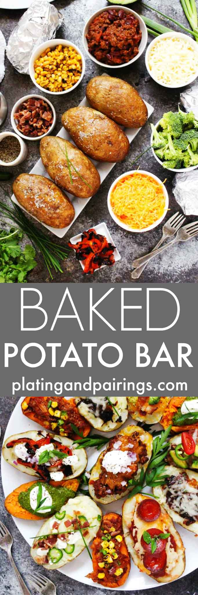 "Create a Grilled ""Baked"" Potato Bar for your next party, potluck or tailgating event. It's a fun and festive way to feed a crowd, and the topping possibilities are endless. 