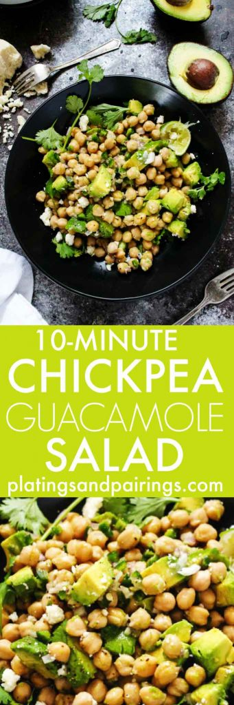 This 10-Minute Chickpea Guacamole Salad has all the traditional elements of a great guacamole and makes a healthy, protein and fiber-filled dish that's perfect for lunch or dinner! | platingsandpairings.com
