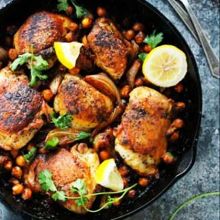 One Pot Harissa Chicken with Chickpeas and Yogurt