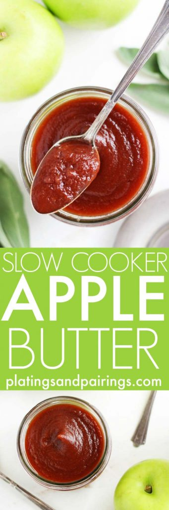 This delicious Apple Butter is easy to make with the help of your slow cooker. It makes a fantastic topping, spread, and condiment. | platingsandpairings.com