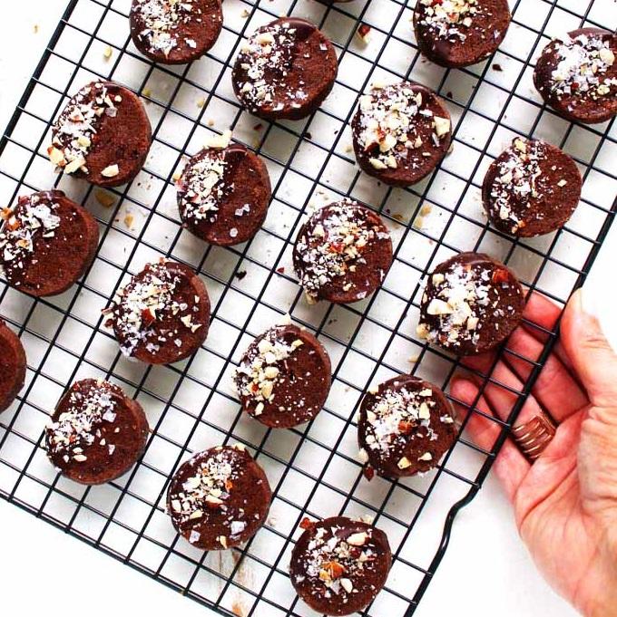 Chocolate Shortbread Cookies with Hazelnuts & Sea Salt | Platings + Pairings