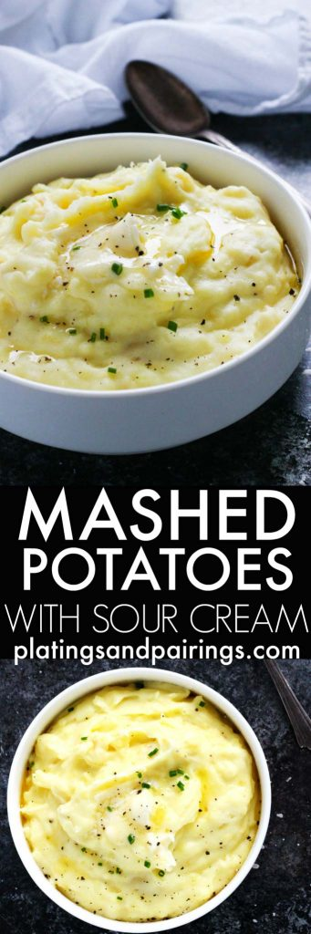 These Easy Mashed Potatoes with Sour Cream are the most delicious mashed potatoes you will ever have. They're light, creamy, butter, tangy & easy to make with the help of your stand mixer - No hand mashing required! | platingsandpairings.com