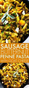 This Sausage & Butternut Squash Penne Pasta with Goat Cheese is the ultimate comfort food - Creamy, cheesy, a little bit spicy, and easily devoured by the spoonful! | platingsandpairings.com