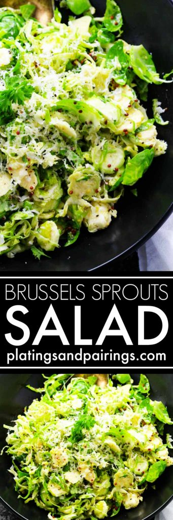 This Shaved Brussels Sprouts Salad with Mustard and Parmesan is tossed in a light red wine vinaigrette and makes a delicious, crunchy side dish. | platingsandpairings.com