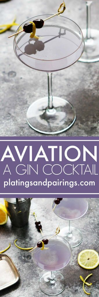 The Aviation Gin Cocktail combines crème de violette, maraschino cherry liqueur & lemon juice for a perfectly sweet & tart delicious cocktail. | platingsandpairings.com