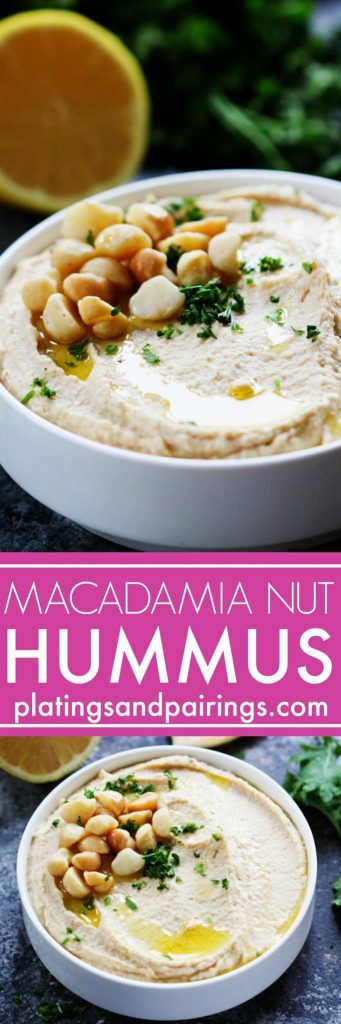 Macadamia Nut Hummus puts a Hawaiian spin on the traditional chickpea spread– It's rich, creamy, tangy and perfect for slathering on sandwiches or serving as an appetizer dip with vegetables. | platingsandpairings.com