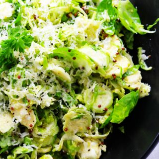 Shaved Brussels Sprouts Salad with Mustard and Parmesan
