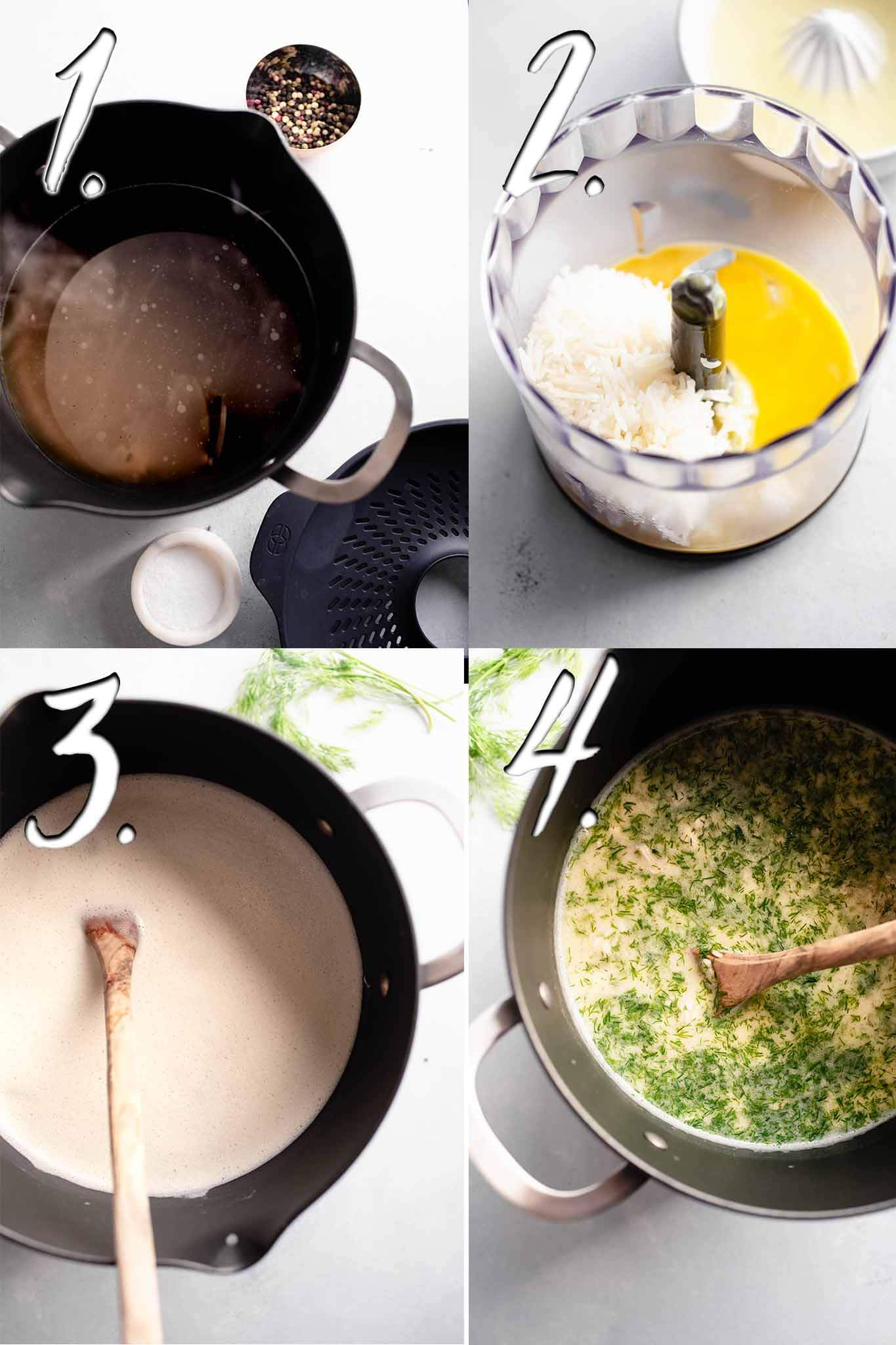 Steps for making avgolemono.