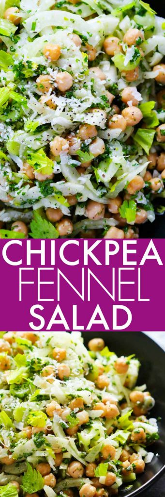 This Fennel and Chickpea Salad is tossed in a light citrus vinaigrette & topped with parmesan. It's the perfect make-ahead salad for potlucks or lunches. | platingsandpairings.com