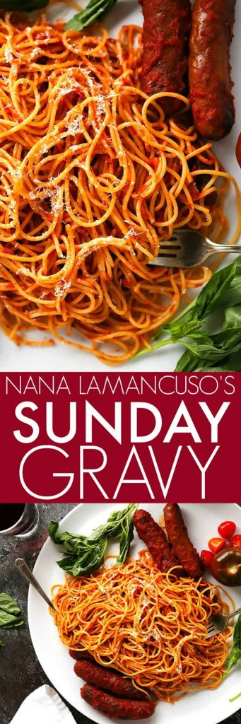 This Authentic Italian Sunday Gravy is what I grew up eating every week. Nana's tomato meat sauce holds a fond place in my heart, and her recipe lives on to this day in my recipe box. It's my most requested recipe and today I'm sharing it with you. | platingsandpairings.com